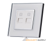Crystal Glass Outlet Socket Double DATA CAT5e - SHPO-S-2DAT