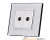 Crystal Glass Outlet Socket Double TV/RF Coaxial RG6 - SHPO-S-2RF